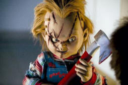 Chucky with one of his weapons - an axe
