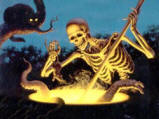 Skeleton stirring cauldron
